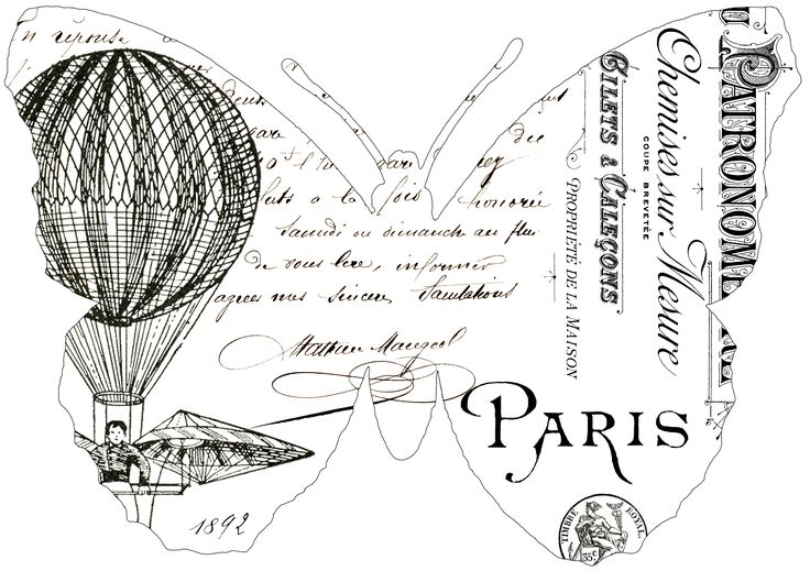 Fabulous French Butterfly Typography Transfers! - The Graphics Fairy