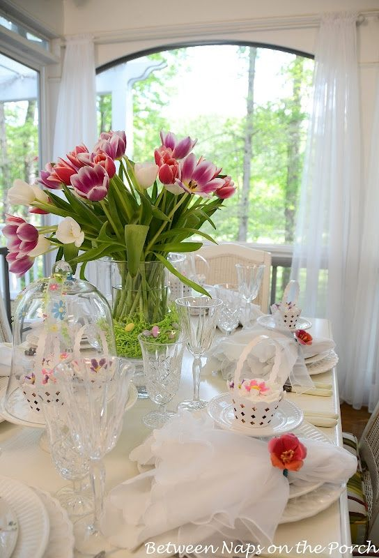 Easter Spring Table Setting With Tulip Centerpiece