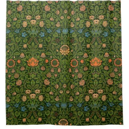 #William Morris Tapestry Rug Red Green Carpet Asian Shower Curtain - #Bathroom #Accessories #home #living