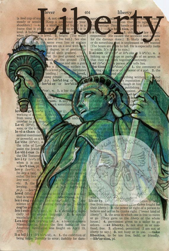 PRINT:  Liberty Mixed Media Drawing on Distressed, Dictionary Page