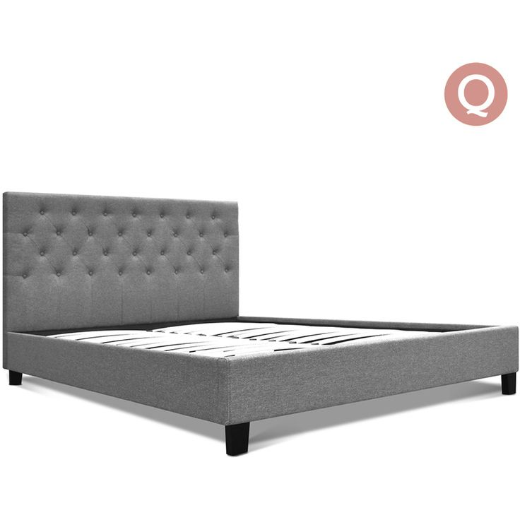 Queen Size Fabric Tufted Bed Frame in Dark Grey | Buy Queen Bed Frame