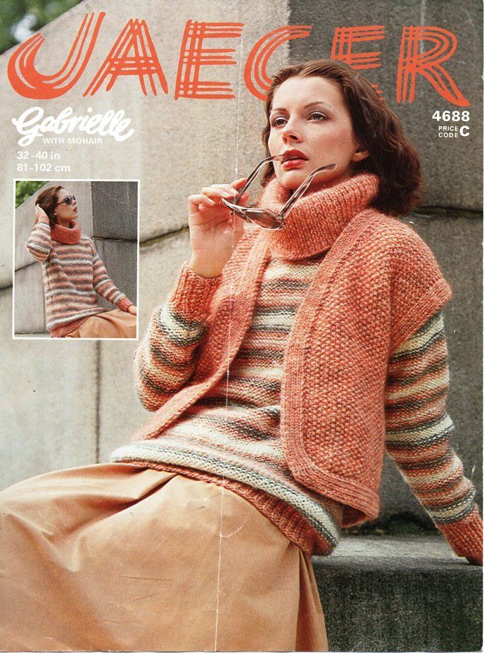 241c46afc4 vintage womens sweater waistcoat knitting pattern pdf ladies chunky cowl  neck jumper gilet 32-40