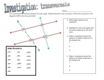 Students will investigate the angles formed when parallel lines are cut by a transversal. Using a protractor, they will measure a series of angles.  After highlighting common measures and answering leading questions, students will discover congruent and supplemental angle pairs within parallel lines. *NOTE - this activity is a great investigation to do before learning angle pair names (alternate interior, alternate exterior, etc.).On the second sheet, they will use their new found…