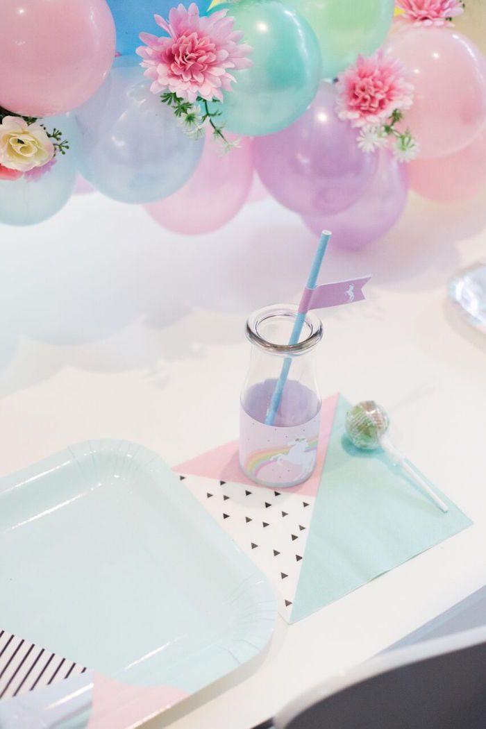 Place setting from a Floral Rainbow Glam Unicorn Birthday Party on Kara's Party Ideas | KarasPartyIdeas.com (13)