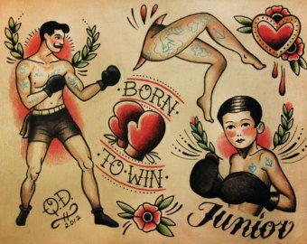 Mama Tried Boxer Tattoo Print por ParlorTattooPrints en Etsy
