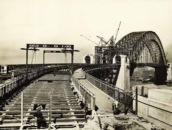 Building of The Sydney Harbour Bridge. Track Timbers on North Approach Spans