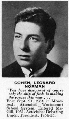 "Leonard Cohen. From McGill university's yearbook ""Old McGill"", 1955"
