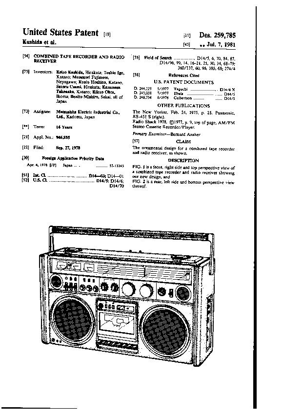 Created in 1978, D259785 was introduced in 1982 as the National Panasonic RS-4360 DFT and Panasonic RX-7700.