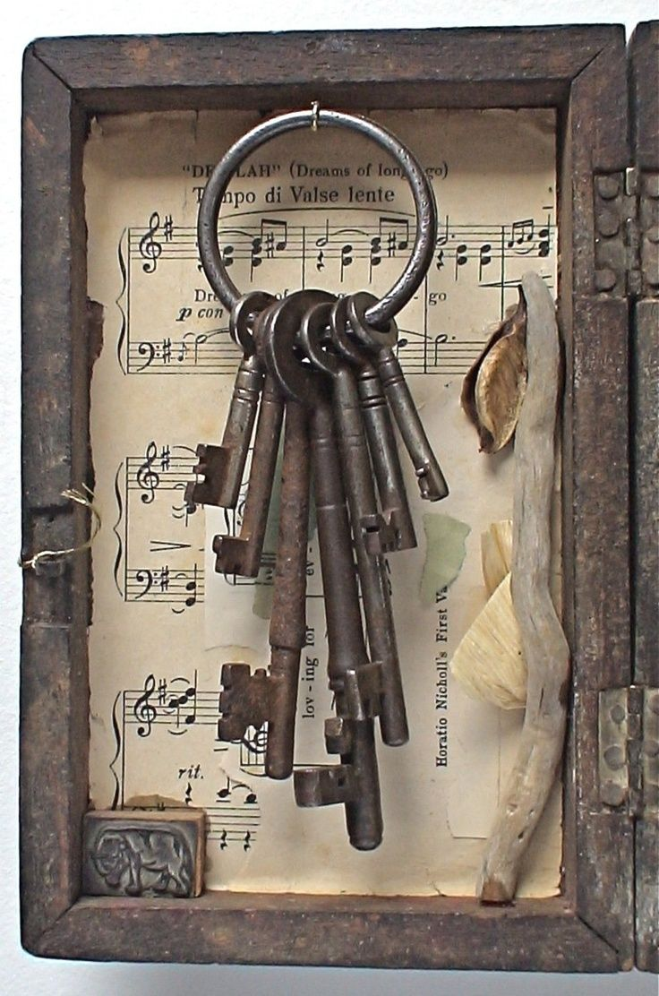 Keys and frame with music background. I would love to make this with a poetry page in the back instead.