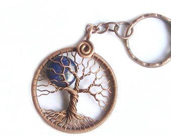 Tree-Of-Life keychain Copper wire wrap Lapis lazuli Full-moon keychain Tree of Life gift men anniversary gift husband September birthstone