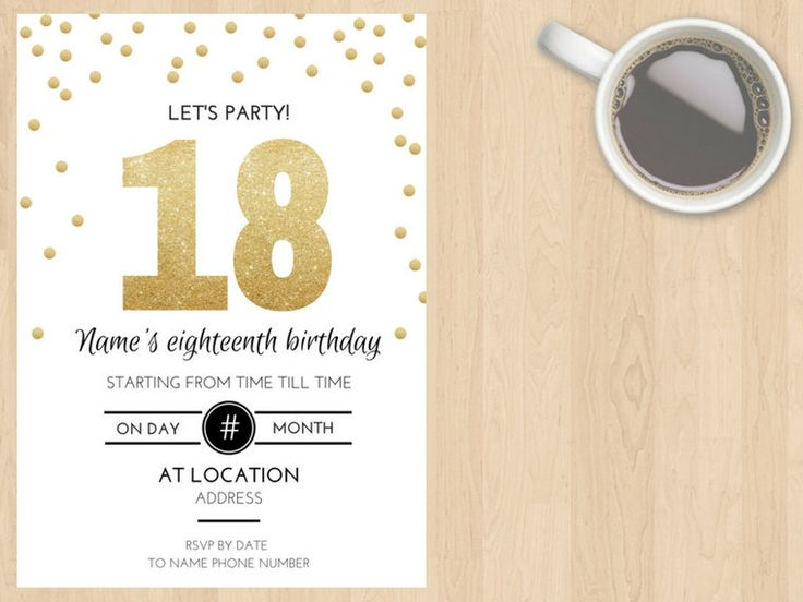 Digital Download 16, 18, 20, 21, 30, 40, 50, 60, 70, 80, 90 ect Birthday Invitation, Gold, White, Black, Modern, Glitter, Customisable by DesignsByMoniqueAU on Etsy
