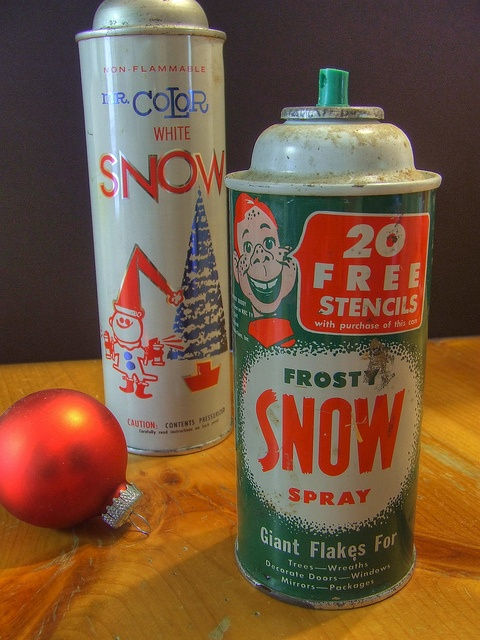 spray snow This stuff was always on the windows of Luverne Elementary School back in the '60s and '70s. The bottles of spray came with stencils you sprayed the fake snow through. Christmas Tree, Showman, Christmas Wreath, Merry Christmas, Happy New Year are some I remember. MJ