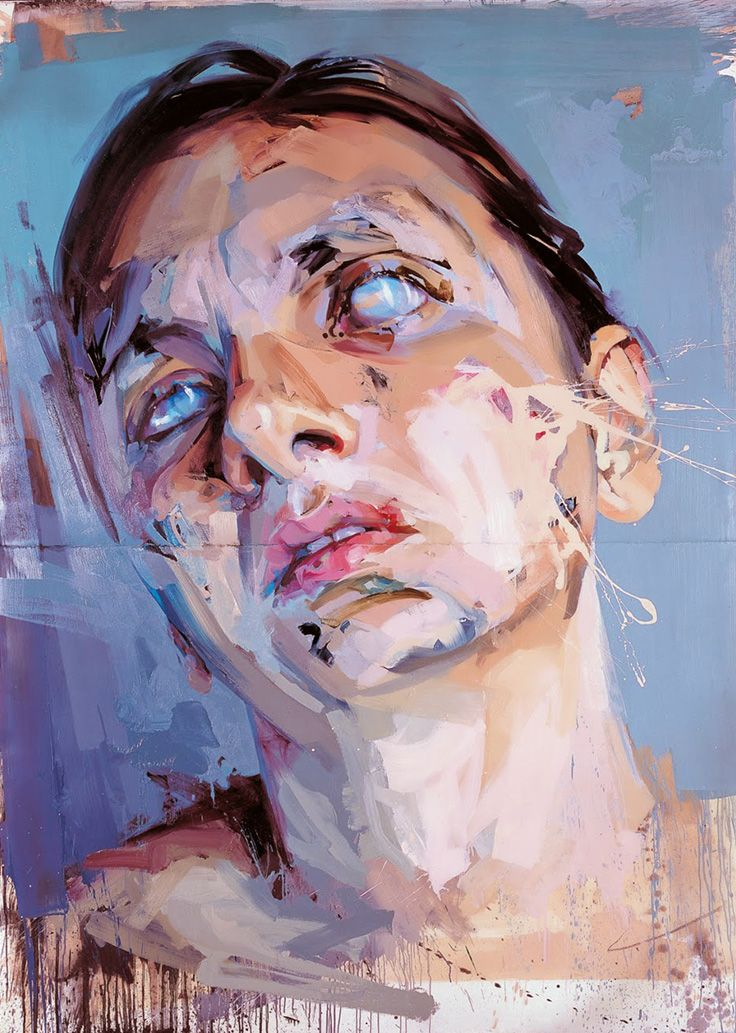 Jenny Saville, oil on canvas {contemporary #expressionist art female head grunge woman face portrait painting}
