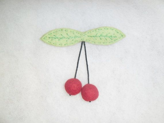 Felted brooch  cherries. Red accessories for women. by EmisaFelt