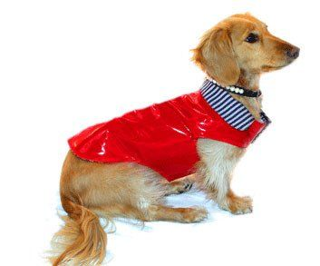 Keep your dog dry as a bone while strolling in spring showers with this waterproof red slicker raincoat with a reversible size. Stylish slicker from Robin Meyer NYC is totally waterproof thanks to a s