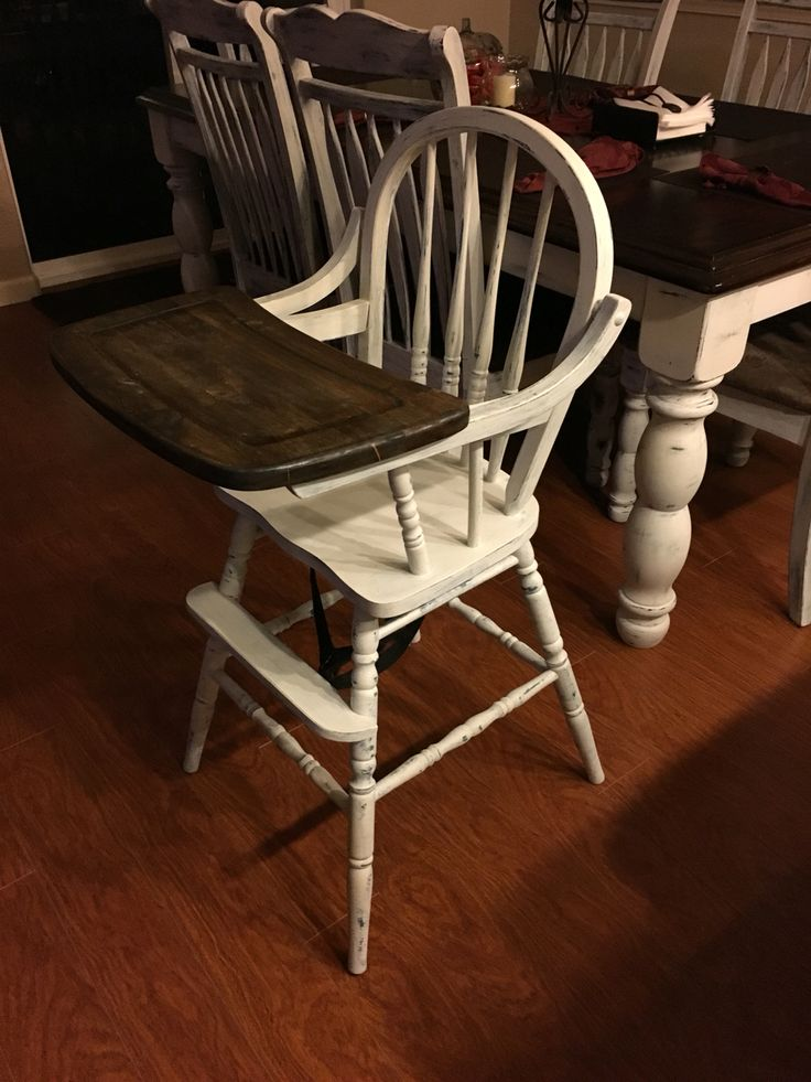 Chalk paint and stained old wood high chair