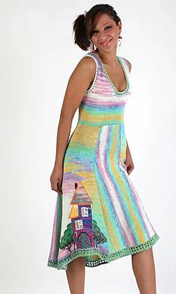 handmade knitted short summer dress HOUSES MANSIONS for women and girls