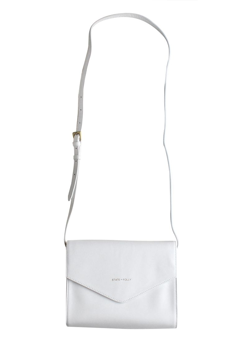 Triangle White Leather Clutch Purse
