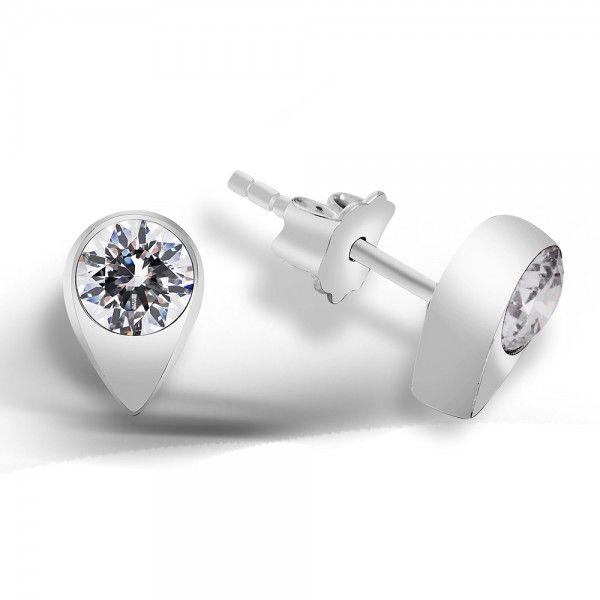 Gümüş Küpe - Yuvarlak zirkon taşlı damla çerçeveli iğneli küpe