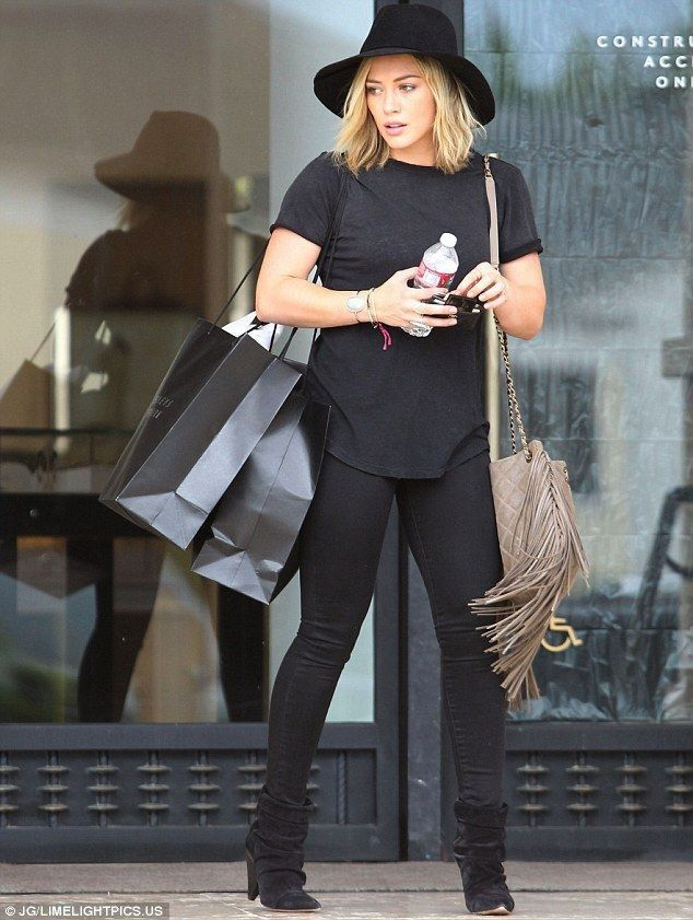 Hilary Duff cuts a fashionable figure in an all-black ensemble - Celebrity Street Style