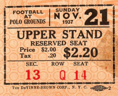 1937 Green Bay Packers NY Giants Ticket Stub