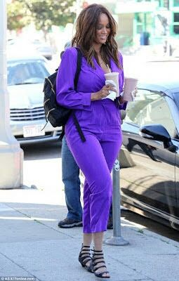 TYRA BANKS STEPS OUT FOR THE FIRST TIME SINCE WELCOMING SON (PHOTOS)   American model actres and singer Tyra Banks stepped out for the first time on Thursday since she welcomed her son York last month. Tyra was photographed in a purple jumpsuit when she was seen picking up some drinks in Beverly Hills.  See more photos below..