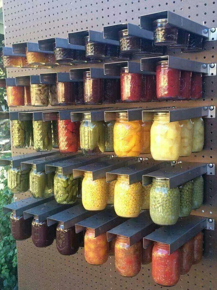 Mason jar storage | Peg board organizing | Canning