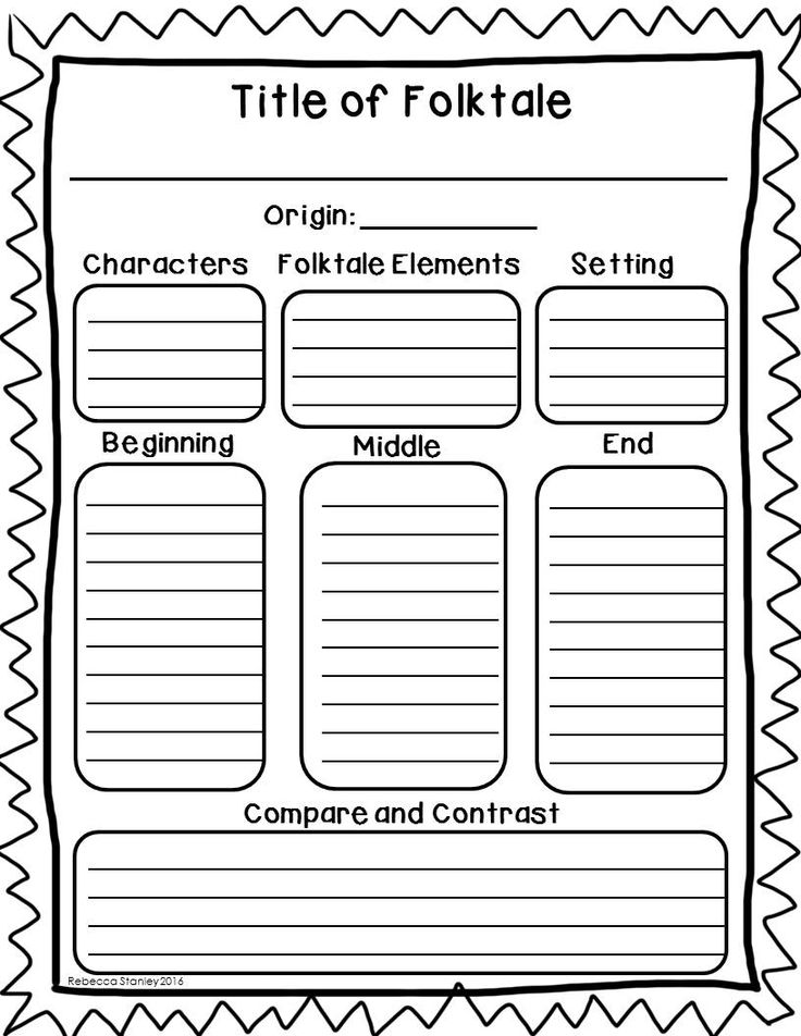 Characters, setting, elements of folktales, beginning/middle/end, and comparing and contrasting are all covered by this one graphic organizer!