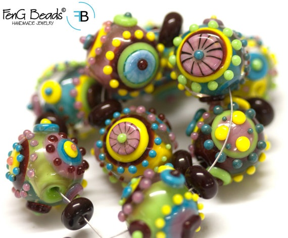 feng lampwork beads pualani funky fraggles by fengbeads on etsy