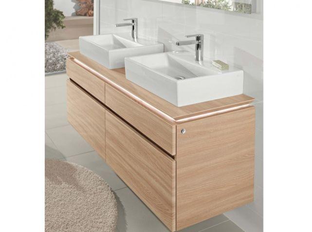 Double vasque rectangulaire meuble bois