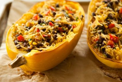 Spicy spaghetti squash with black beans.  Love the presentation!