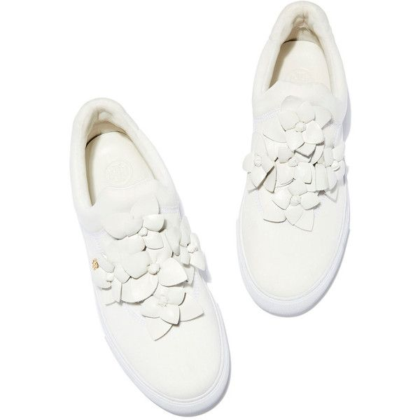 Blossom Sneaker ❤ liked on Polyvore featuring shoes, sneakers, slip-on sneakers, white slip on shoes, white sneakers, slip on trainers and flower shoes