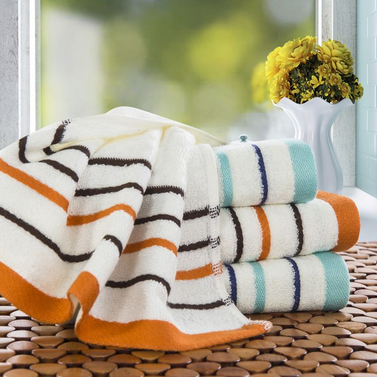 Best Bamboo Striped Hand Towel For Home Bathroom Outdoor and Travel Face Towels On sale Soft High Absorbent Line