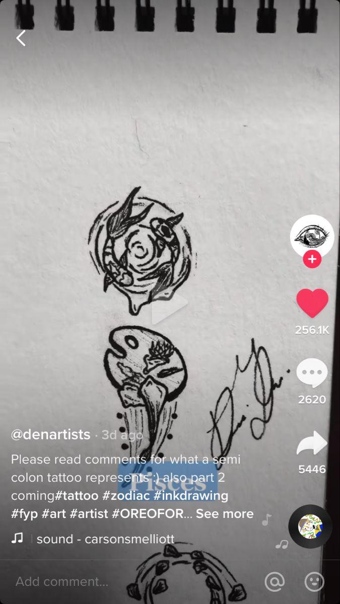 Tiktok Denartist Pisces Semicolon Tattoo In 2021 Semicolon Tattoo Ink Drawing Colon Tattoo