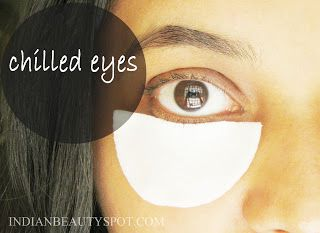 Iced cotton pads for dark circles and puffy eyes.