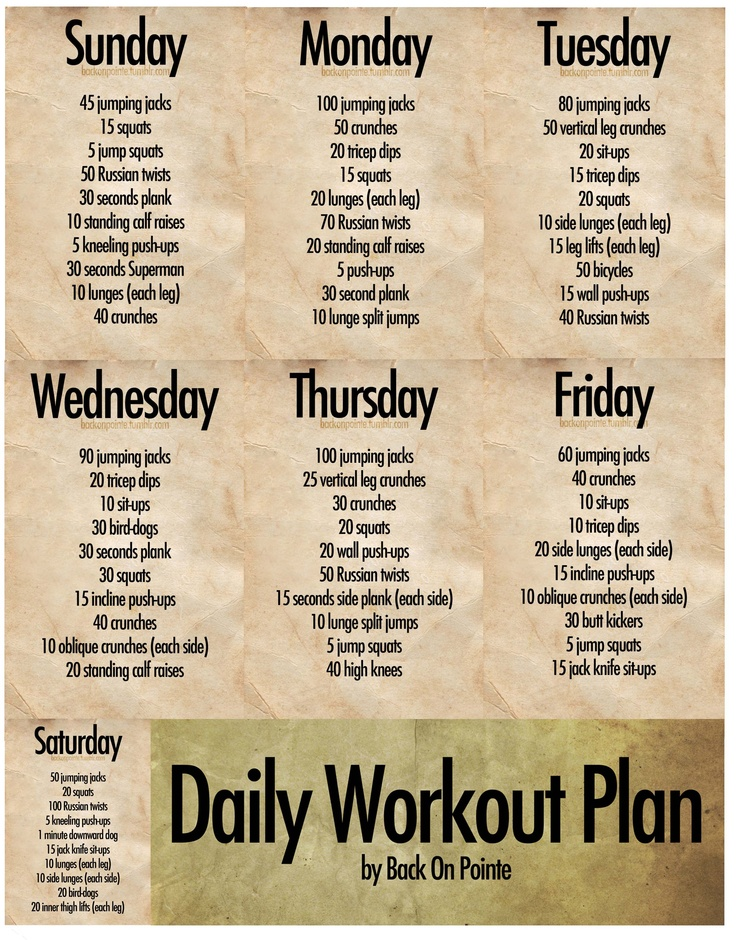 Daily Work Out Plan Http://backonpointe.tumblr.com/post