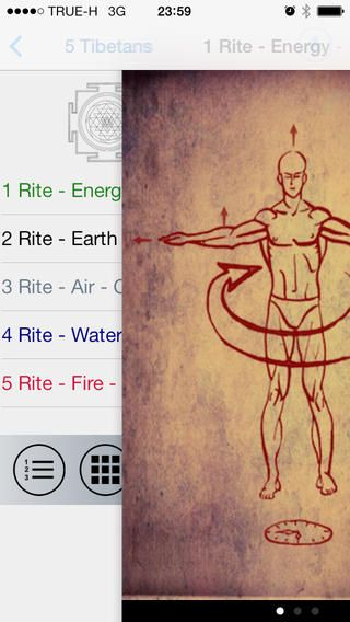https://itunes.apple.com/us/app/fivetibetans/id734638698  The Five Tibetan Rites is a system of exercises reported to be more than 2,500 years old which were first publicised by Peter Kelder in a 1939 publication titled The Eye of Revelation. The Rites are said to be a form of Tibetan yoga similar to the yoga series that originated in India.