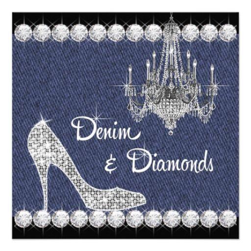 denim and diamonds birthday party invitations birthday