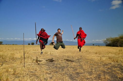 James took this #photo recently at #Oltukai, Mollel and Joel teaching Zhan how to jump like a #Masai
