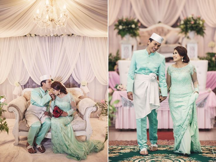Malay-muslim couple after their solemnisation in Jurong Green Community Centre, Singapore.