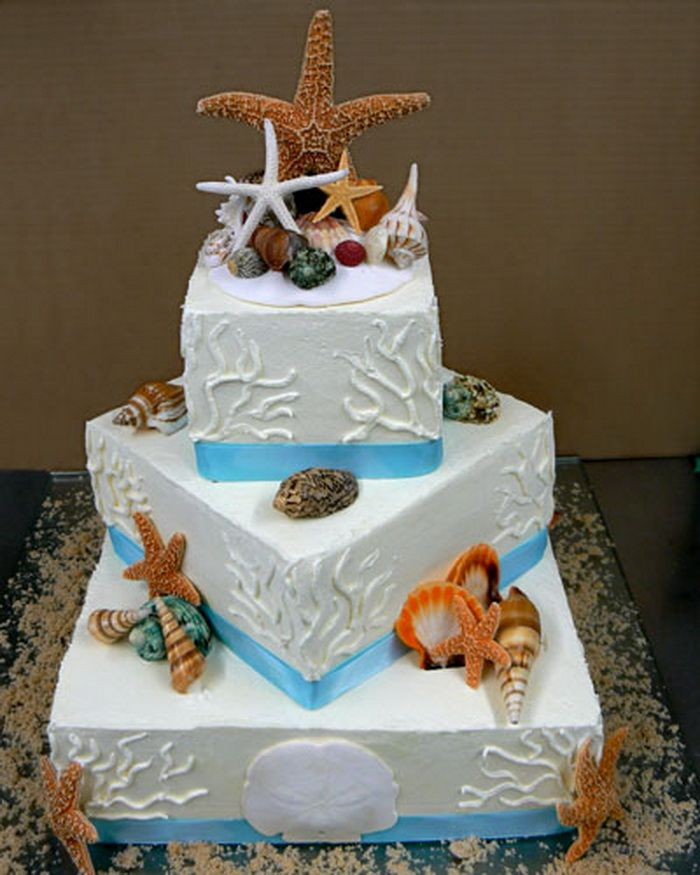 Wedding Cakes Inspired By China Patterns: 2 Tier Beach Wedding Cakes