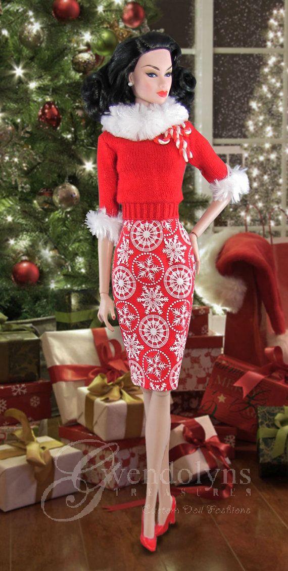 "SCARLET SNOWFLAKE Sweater Set for 11"" - 12"" dolls"