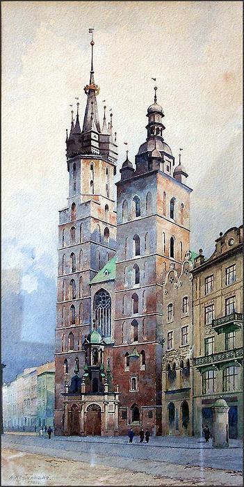 Krakow, Poland (watercolor) A. Kramarski Widok na Kościół Mariacki 1932