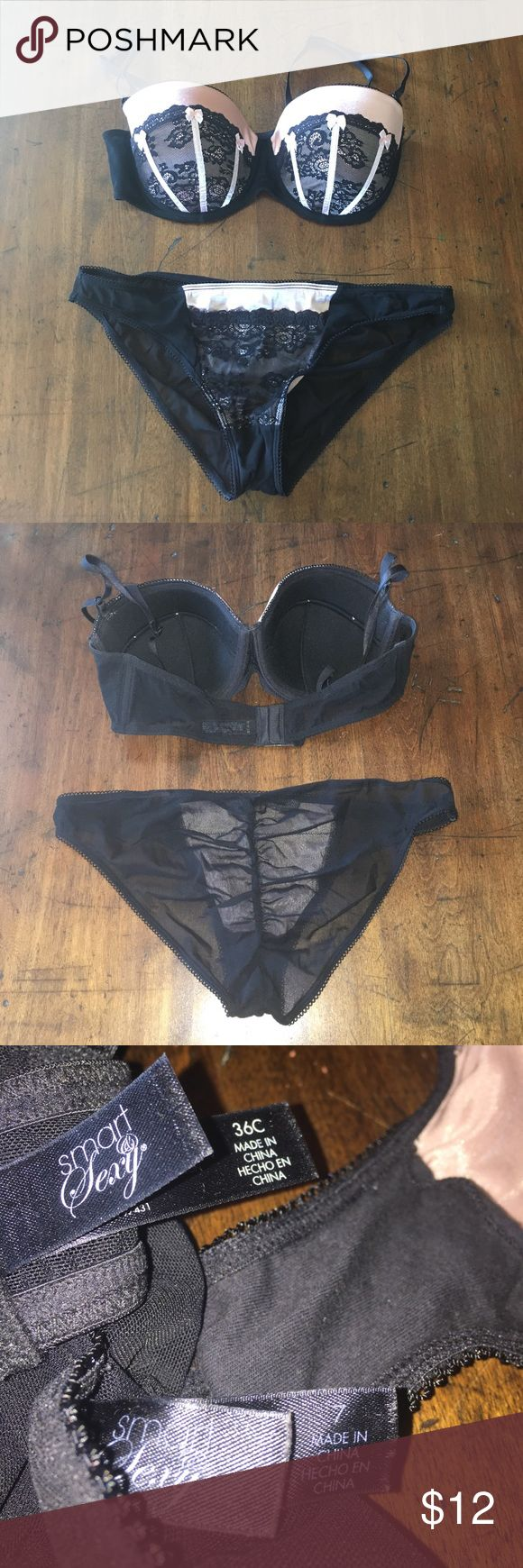 NWOT 36C/7 bra & panty set Pink & black bra & panty set. NWOT. Lace and bow detailing. Molded cups. Hook 6 hook closure on bra with adjustable straps. Underwire. No push-up. Cheeky gathered bottoms. Black see thru material. Bikini style. Fits like a medium 4/6. Clean. smart & sexy Intimates & Sleepwear Bras