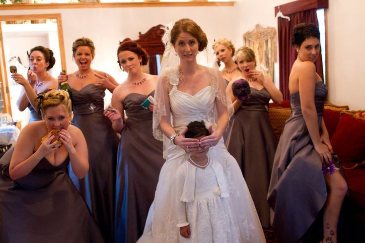 image Naughty bridesmaids share a dick in the changing room