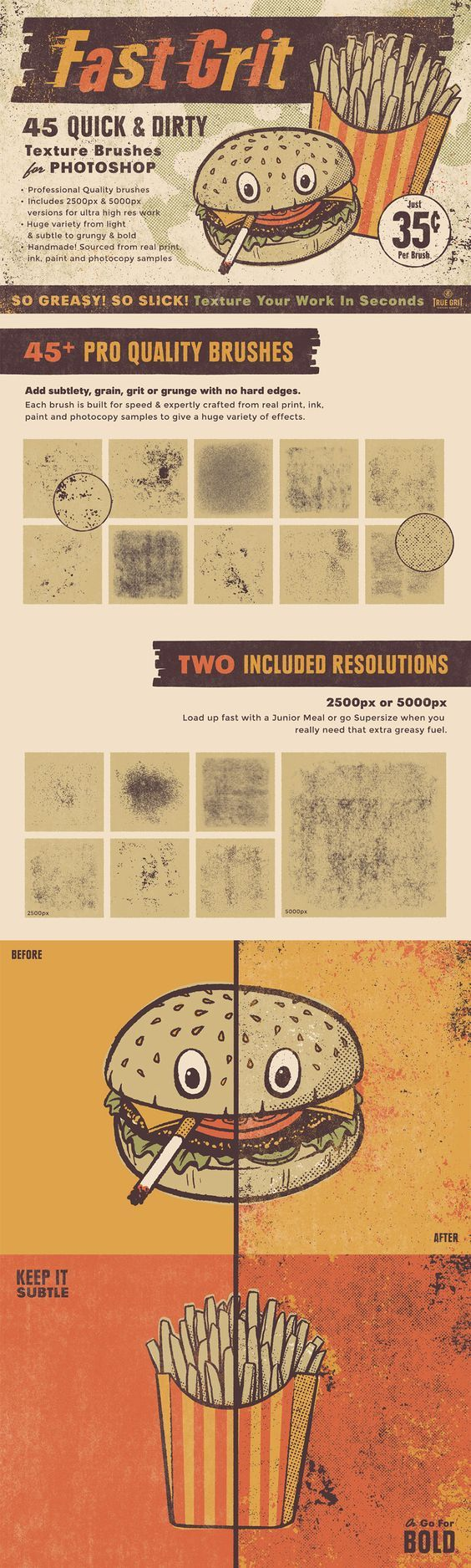 FAST GRIT TEXTURE BRUSHES FOR PHOTOSHOP #Textures #PhotoshopBrushes #PhotoshopTexture #Illustration #GraphicDesign #Distressed #Grunge  #SubtleTexture #Letterpress #RetroEffects #VintageEffects #PhotocopyTexture #Distressing #ScreenprintTexture #SilkscreenTexture #VectorTexture #PhotoshopTutorial #TextureTutorial #GigPosters #MusicDesign #EditorialIllustration #ComicIllustrators #ComicArtists #Comics #Posters