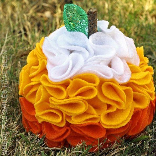 maíz dulce bricolaje volantes sintió calabaza, la artesanía, de halloween, cómo, decoración de fiestas de temporada