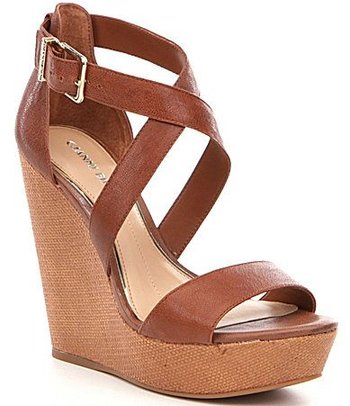 Gianni Bini Scottiee Leather Wedge Sandals #Dillards
