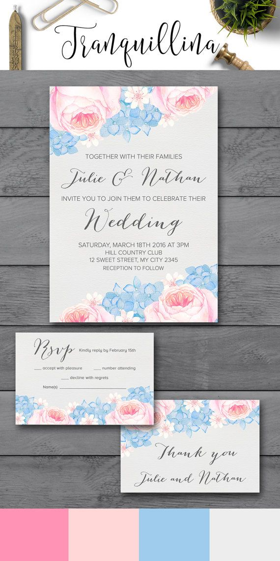 Printable Wedding Invitation, Pink & Blue Elegant Floral Wedding Invitation, Rose Quartz & Serenity Watercolor Flowers. You can find more wedding invites ideas here: tranquillina.etsy.com