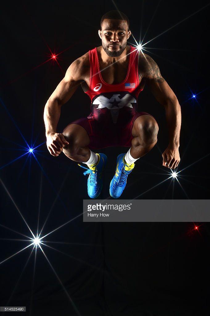 Wrestler Jordan Burroughs poses for a portrait at the 2016 Team USA Media Summit…